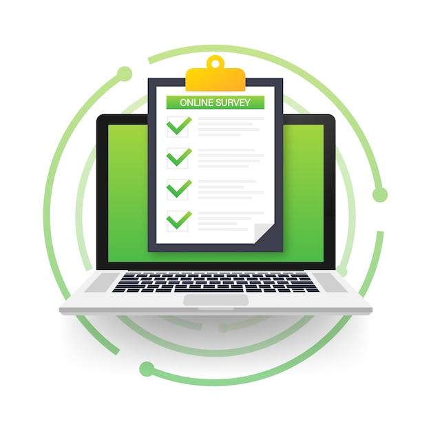 Online survey, checklist, questionnaire icon. laptop, computer screen. feedback business concept. Pr