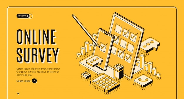 Online survey isometric banner Free Vector
