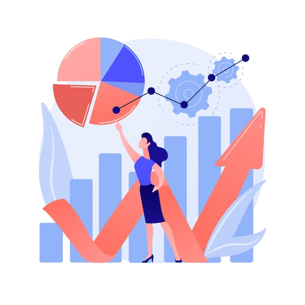 Online survey results analysis. pie charts, infographics, analyzing process. business and financial reports analytics. social poll answers statistics concept illustration Free Vector