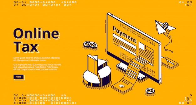 Banner web isometrica fiscale online Vettore gratuito