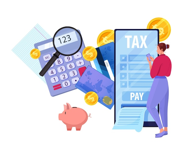 Online tax report and payment concept with young woman filling payroll Premium Vector