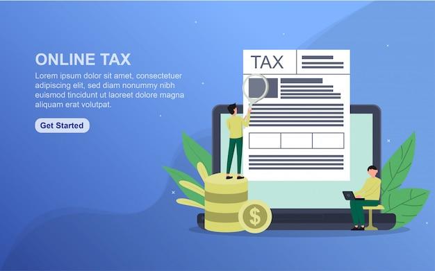 Online tax template. Premium Vector