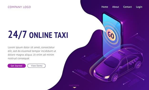 Taxi online 24 7 banner web pagina di destinazione isometrica Vettore gratuito