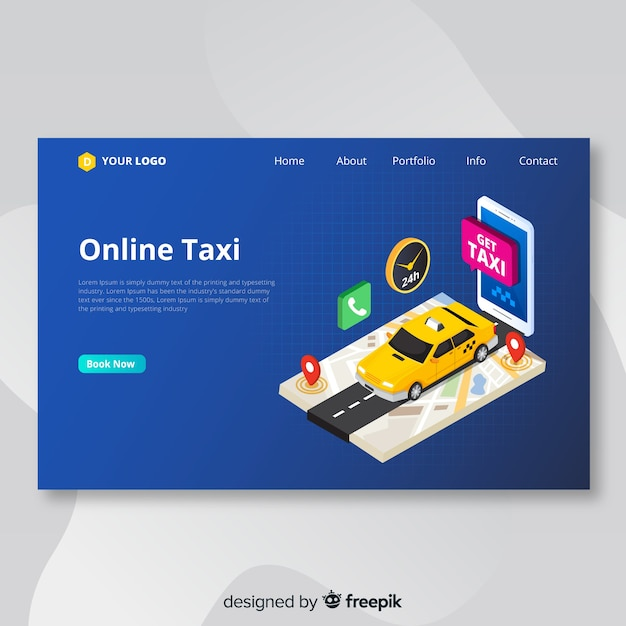 Online taxi landing page Free Vector