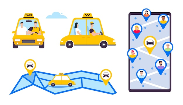 Online taxi or rent transportation set isolated objects. driver and passenger in car, front and side view. smartphone screen with map and markers, navigation and route Premium Vector
