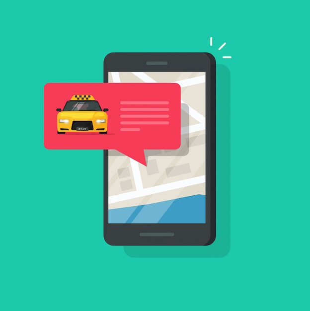 Online taxi service on mobile phone or cellphone vector illustration isolated flat carton Premium Vector