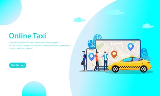 Online taxi vector illustration concept Premium Vector