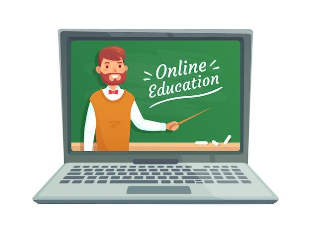 Online teacher education Premium Vector