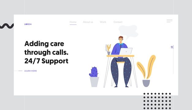 Online technical support 24/7 concept landing page with man character consulting client via headset. online assistance, male help line call center operator website, banner. Premium Vector