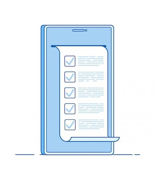 Онлайн тест компьютерная форма викторины на смартфоне. интернет, чтобы сделать список тестирования цифровой анкеты результаты голосования линии Premium векторы