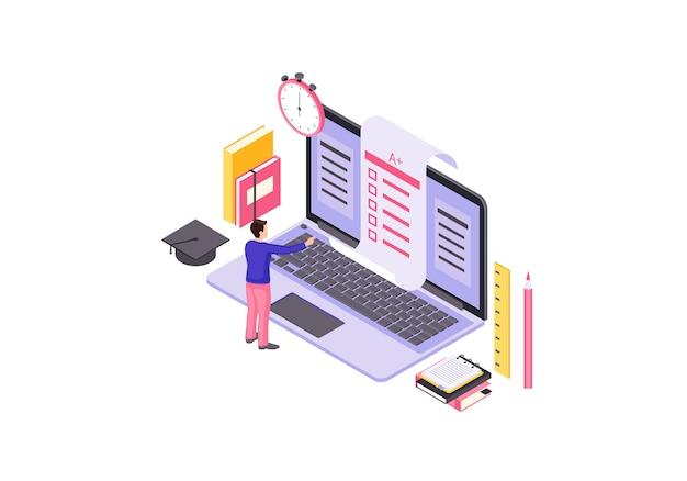 Online test isometric illustration Premium Vector
