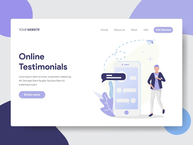 Online testimonials illustration for website page Premium Vector