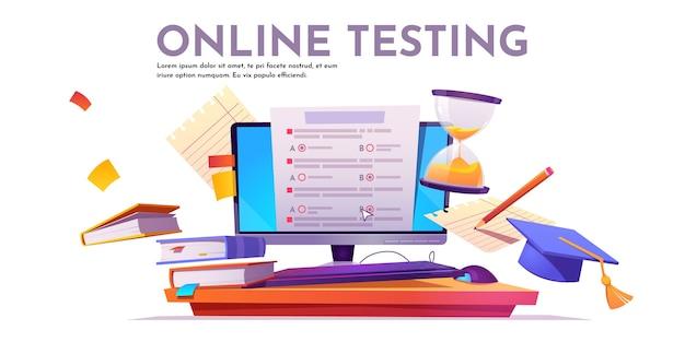 온라인 테스트 배너 무료 벡터