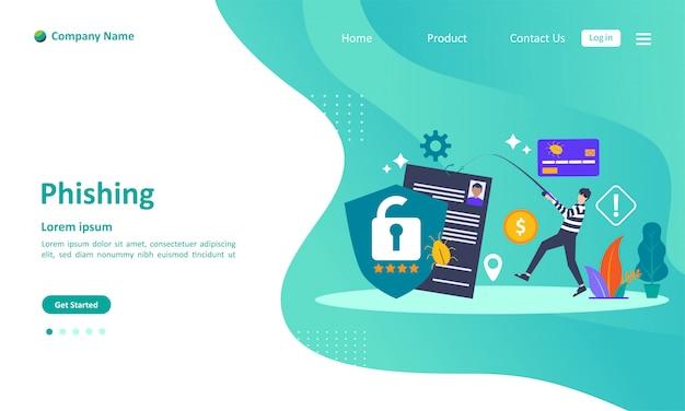 Online theft data landing page Premium Vector