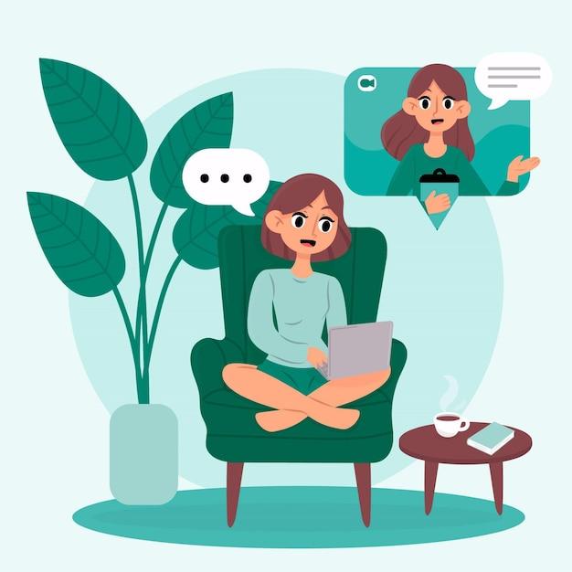 Онлайн терапевт беседует с клиентом Бесплатные векторы