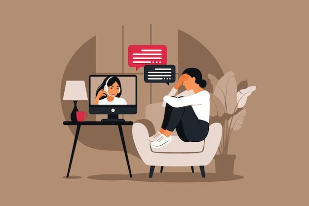 ストレスとうつ病の下でのオンライン療法とカウンセリング。若い女性の心理療法士は、心理的な問題を抱えている女性をサポートしています。ベクトルイラスト Premiumベクター