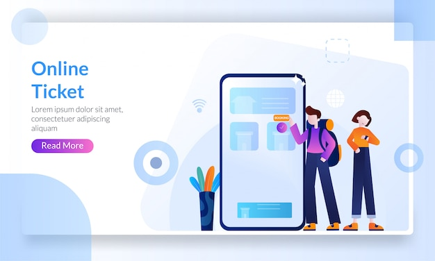 Online ticket concept, buying ticket on internet with mobile phone Premium Vector