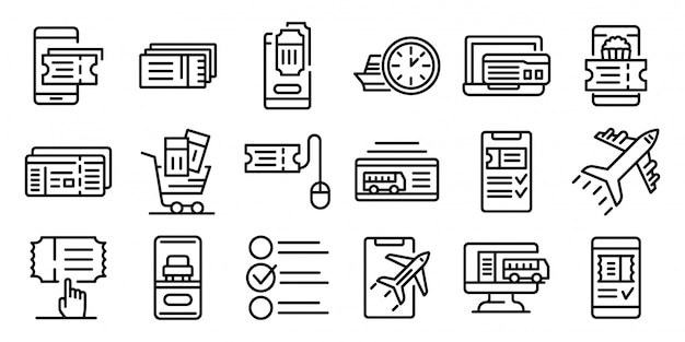 Online tickets booking icons set, outline style Premium Vector