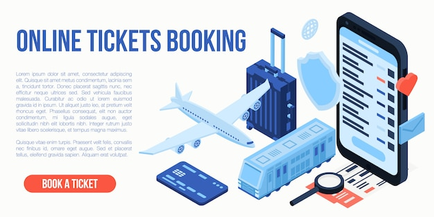 Online tickets booking travel concept, isometric style Premium Vector