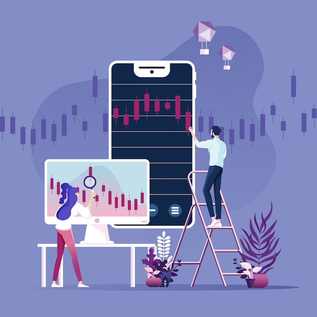 Online trading, banking, investment vector concept Premium Vector