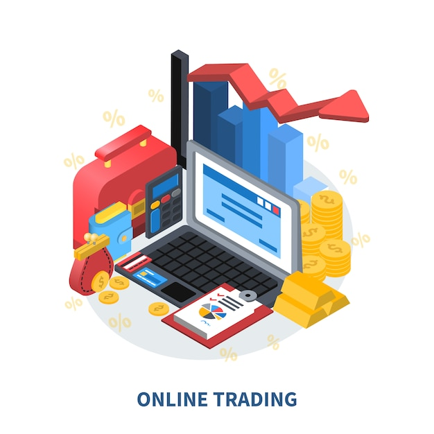 Online trading isometric composition Free Vector