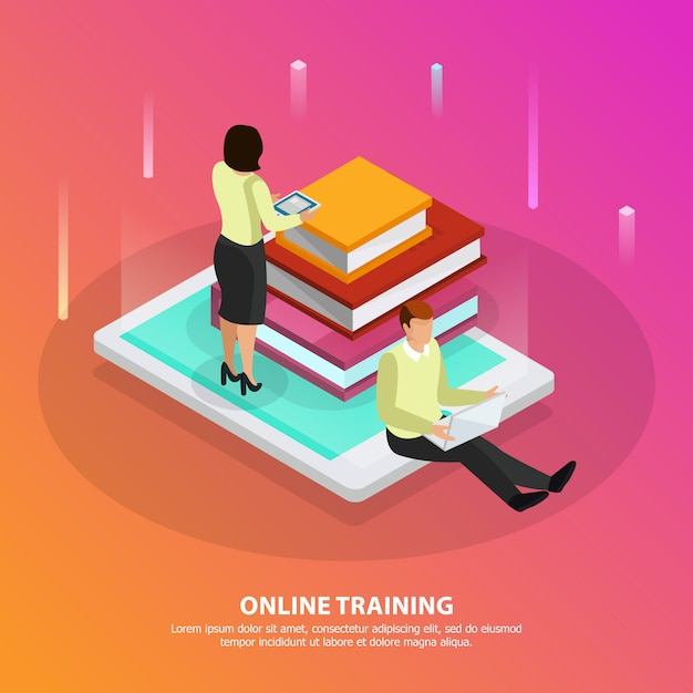 Online training design concept with male and female persons and stack of tutorials on smartphone screen isometric Free Vector