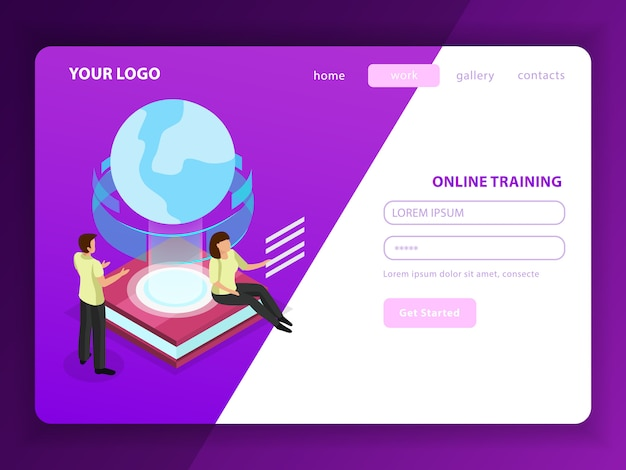 Online training landing page with male and female characters and glow globe icon as symbol of learning without geographical borders Free Vector