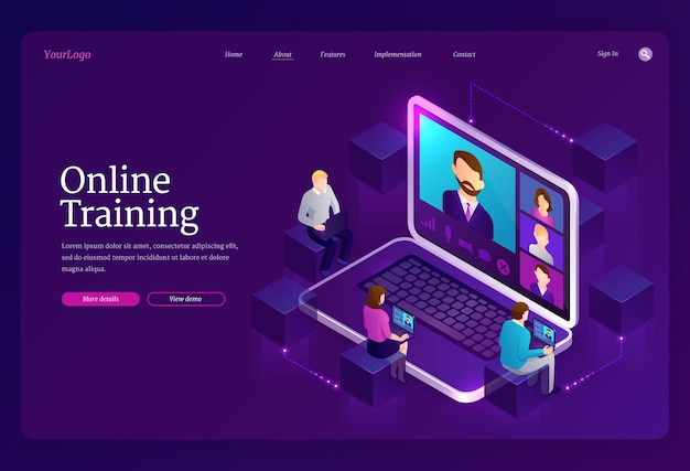 Online training landing page Free Vector