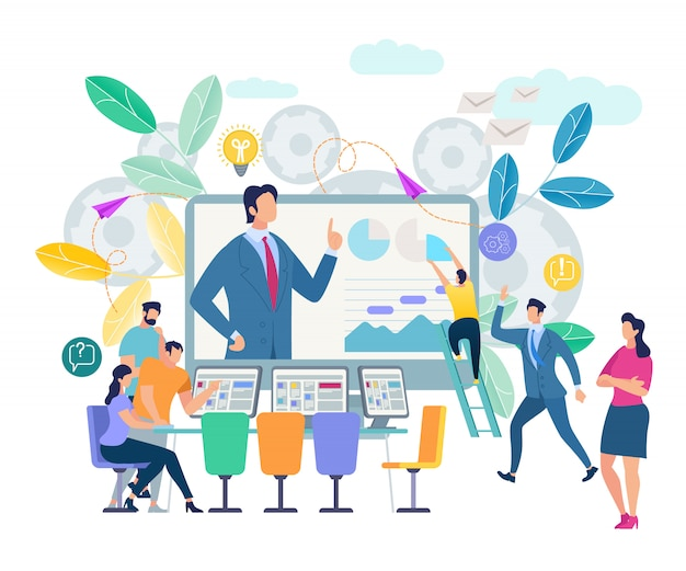 Online training workshop and courses visualization Premium Vector