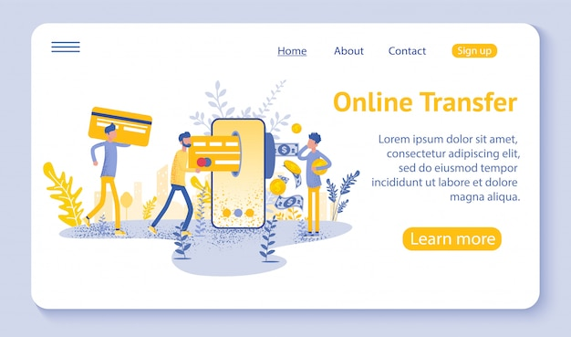 Online transfer landing page with hand holding smartphone and pressing send button Premium Vector