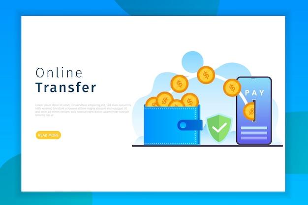 Online transfer landing page Premium Vector
