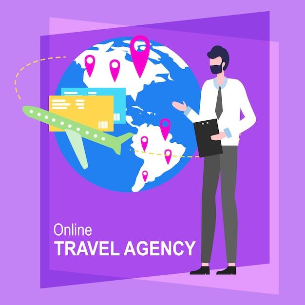 Онлайн иллюстрация вектора работника человека шаржа бюро путешествий. Бесплатные векторы
