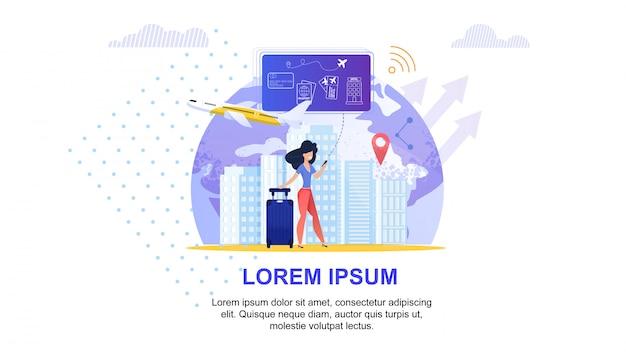 Online travel service. tourism vacation planning. Premium Vector