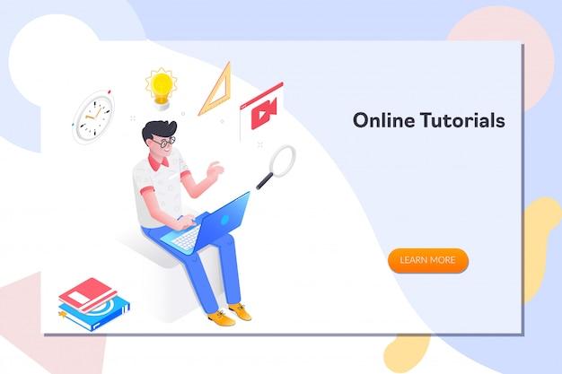 Online tutorials landing page Premium Vector