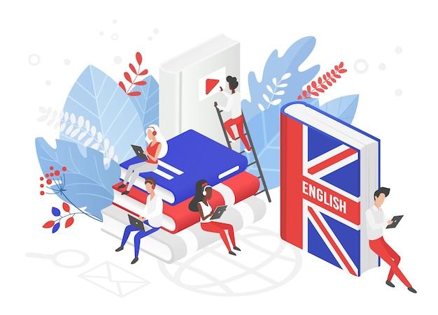 Онлайн курсы английского языка в великобритании изометрическая 3d иллюстрация Premium векторы