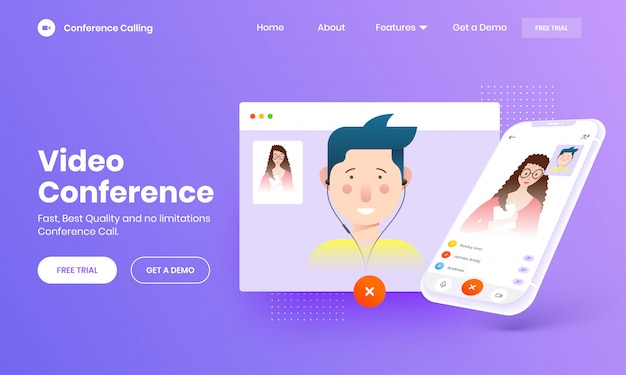 Online video calling concept with smartphone screen Vector