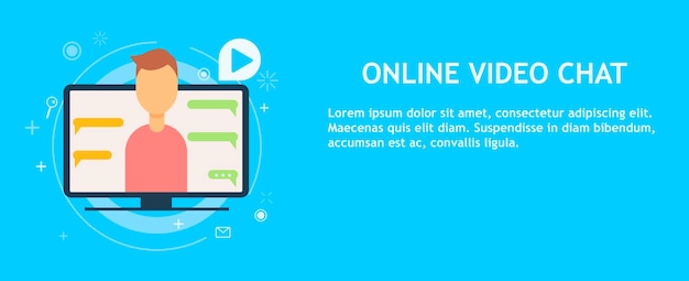 Online video chat with man Free Vector