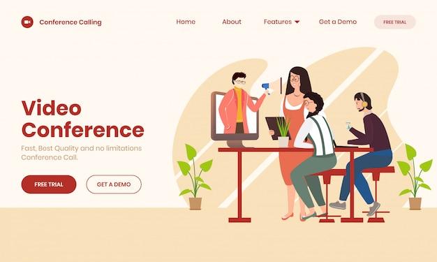 Online video conference concept Premium Vector