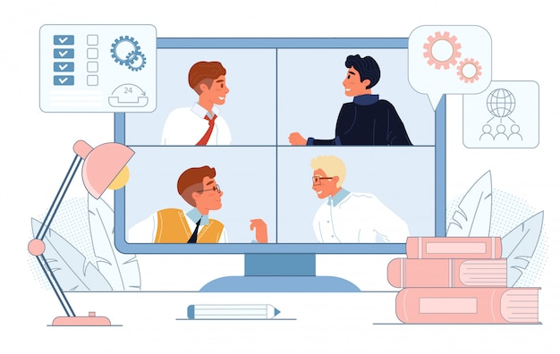 Онлайн видеоконференция на экране компьютера Premium векторы