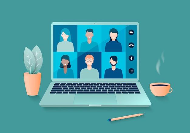 自宅でラップトップを使用して作業するオンラインビデオ会議または遠隔教育。 Premiumベクター