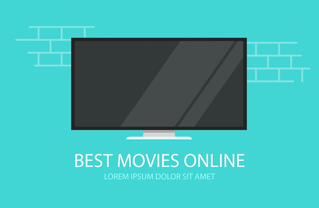 Online video movies or tv cinema  flat cartoon illustration banner Premium Vector