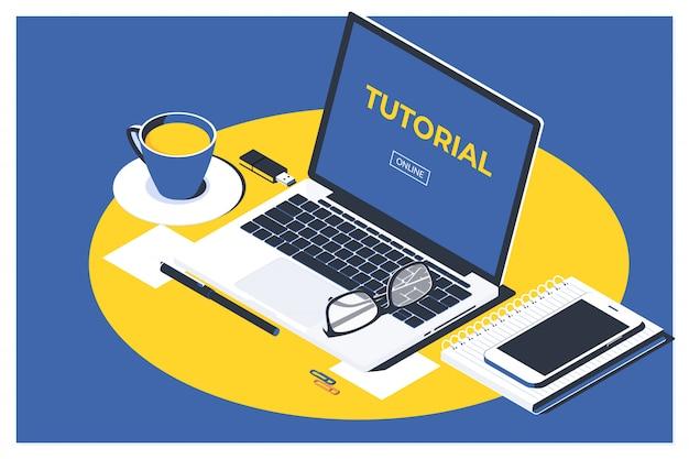 Online video tutorial concept Premium Vector