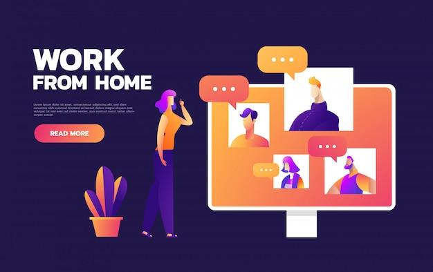 オンライン仮想リモート会議、tvビデオweb会議電話会議。会社のceo、社長、社長、上司、従業員チームが在宅勤務。 Premiumベクター