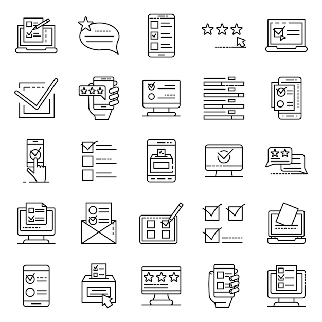 Online vote icons set, outline style Premium Vector