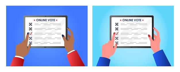 Концепция онлайн-голосования для веб-дизайна женские руки, держа планшет Premium векторы