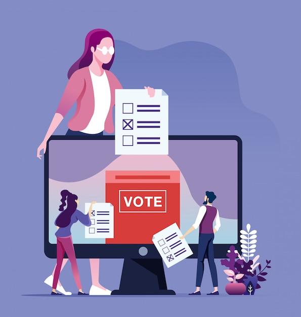 Online voting concept Premium Vector