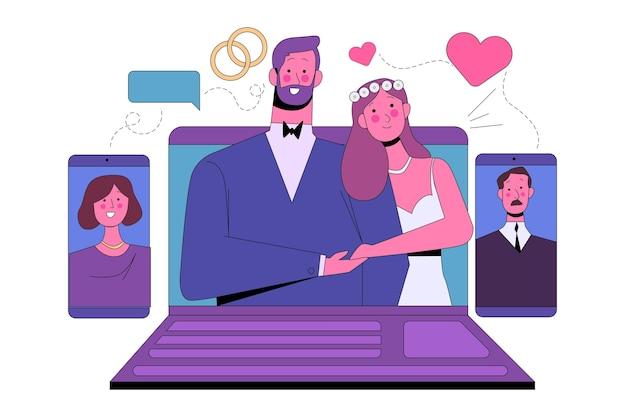 オンライン結婚式のコンセプト 無料ベクター
