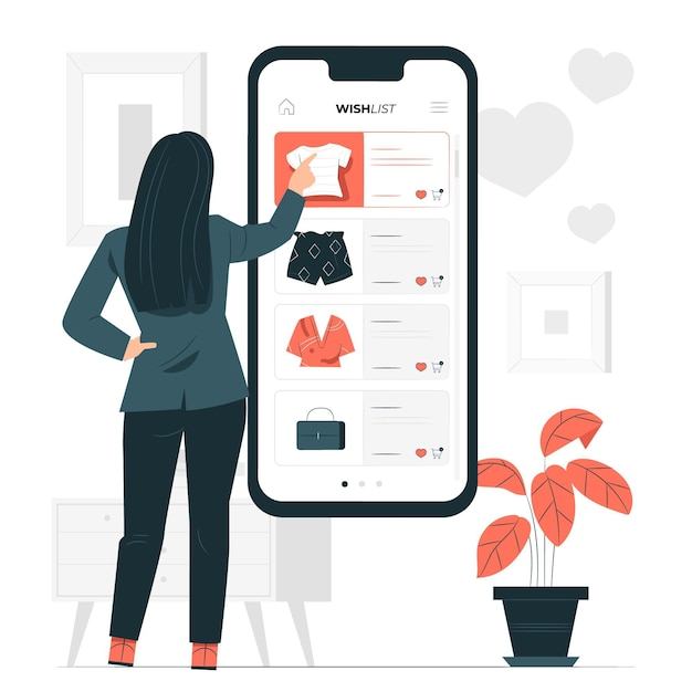 Online wishes list concept illustration Free Vector