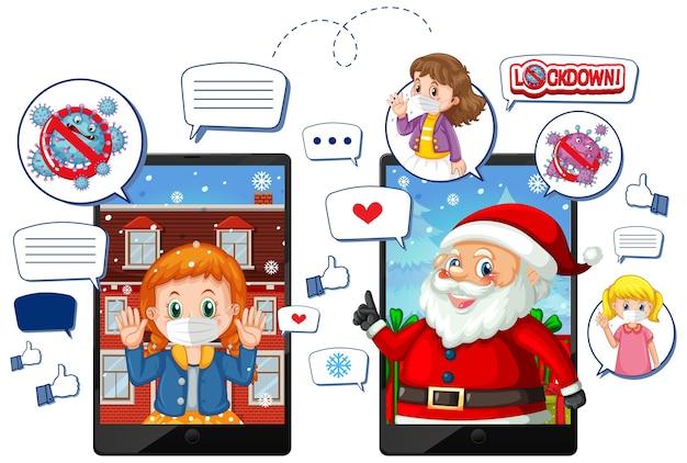 Празднование рождества онлайн через мобильное устройство Бесплатные векторы