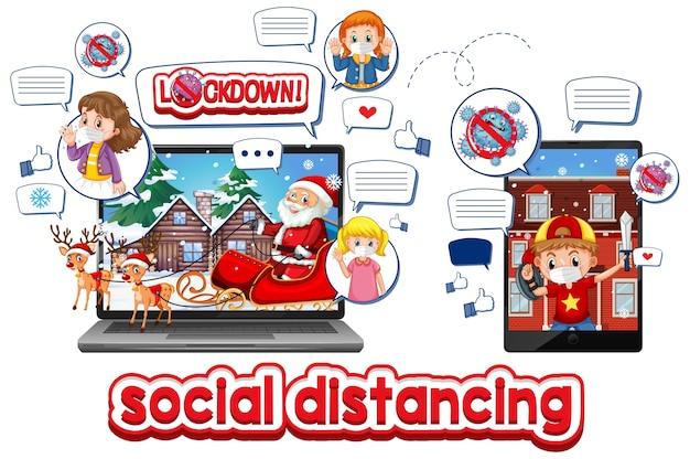 モバイルデバイスを介したオンラインのクリスマスのお祝い 無料ベクター